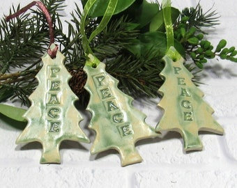 Christmas Tree Ornament Gift Tag  Place Card Home Decor Holiday Decoration Peace Set of 3