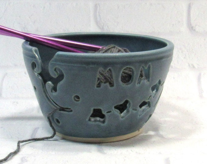 Featured listing image: Yarn Bowl - Mom Knitting Bowl - Yarn Bowl for Mom - Mothers Day gift - Ceramic Yarn Bowl - Yarn Holder - Bowl for Knitters