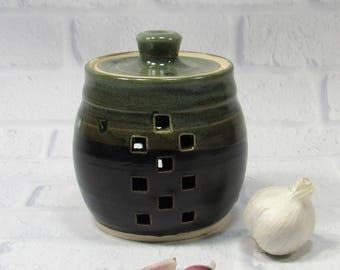 Garlic Jar - Ceramic Garlic Jar - Pottery Jar - Garlic Keeper - Kitchen Organization - Kitchen Canister - Storage Jar - Candy or Trinket Jar