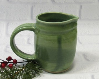 Green Pottery Pitcher - Creamer - Ceramic Jug - Handmade Pottery