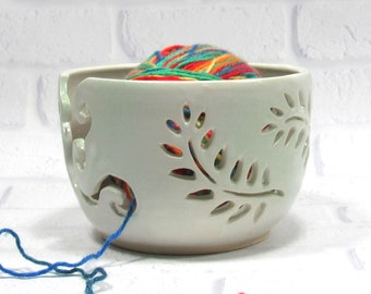 Yarn Bowl for Knitters, Handmade Pottery, White and Green yarn holder