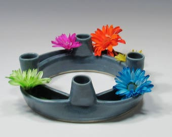 Spring Wreath - Posey Ring - Tabletop Centerpiece Decor - Candle Holder - Ceramic Spring Wreath - Ceramic Flower Ring - Advent Wreath