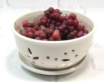 Ceramic Berry Bowl and saucer Set - Fruit Bowl - Handmade Pottery