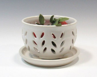 Pottery Berry Bowl and Saucer - Fruit Bowl