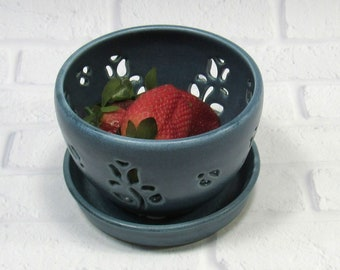Ceramic Berry Bowl and saucer Set - Fruit Bowl - Handmade Pottery