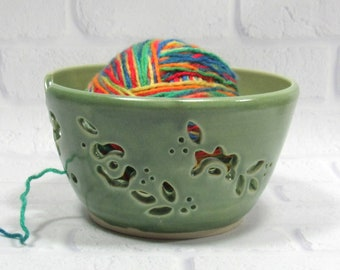 Pottery Yarn Bowl for Knitting or Crochet, Handmade Pottery