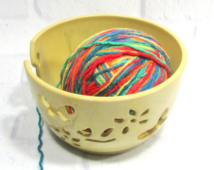 Featured listing image: Yarn Bowl for Knitters, Handmade Pottery