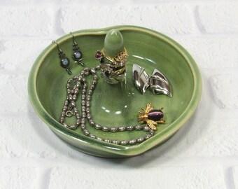 Heart Shaped Ring Bowl - Jewelry Dish - Handmade Pottery