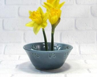 Flower bowl, ikebana container, candy bowl dish, ceramic ikebana dish, ikebana flower dish, pottery bowl,  pin frog bowl, trinket dish, vase