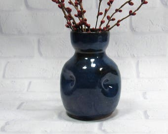 Ceramic Bud Vase - Bottle Vase - Pottery Bottle - Sake Bottle - Flower Vase - Cobalt blue Vase - Modern Decor - Contemporary Decor