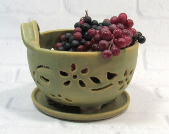 Ceramic Berry Bowl - Berry Bowl Colander - berry bowl and saucer - Berry Bowl Set - Berry Bowl Strainer - Berry Washing Bowl - Fruit Bowl