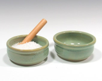 Salt Cellar, Set of 2 small bowls - Ceramic Salt Keeper, Food Prep Bowl, Salt Pinch Bowl