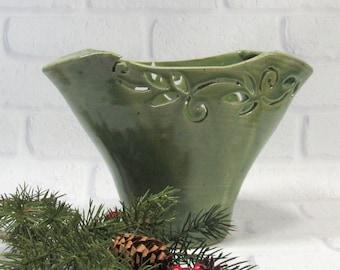 Carved Ceramic Oval Fan Vase, Handmade Pottery