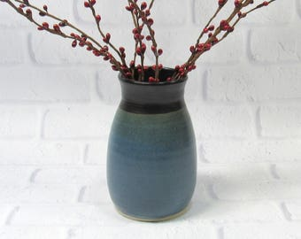 Ceramic Flower Vase - Blue and Black Vase - Pottery Vase - Sake Jar - Decanter - Mantelpiece Accent Decor - Decorative Vase - Utensil Holder