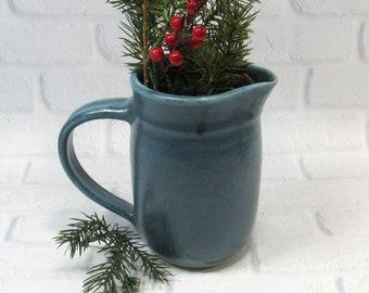 Blue Pottery Pitcher - Water Jug - Handmade Pottery