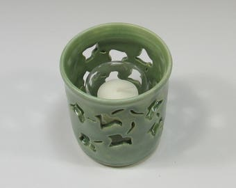 Votive Candle Holder - Pencil Holder - Ceramic Pencil Holder - Pottery Sponge Holder - Candle Holder - Green Flower Vase - Kitchen accessory