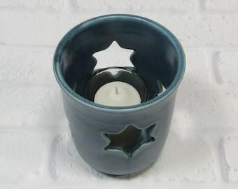 Hanukkah Decor Tealight Candle Holder - Handmade Pottery