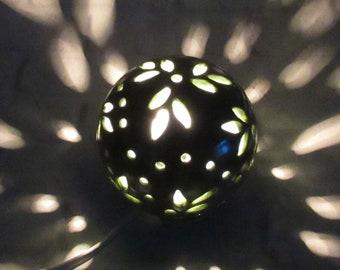 Green Night Light - mood lighting - ambiance light - round table lamp - ceramic night lamp - nursery night light - night light kids
