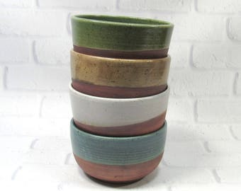 Pottery Bowls - Soup Bowls - Rice Bowls - Set of 4 Bowls - Ceramic Noodle Bowls - Ramen Bowls - Rustic Bowls - Appetizer Dip Bowls