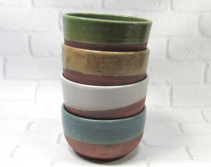 Featured listing image: Pottery Bowls - Soup Bowls - Rice Bowls - Set of 4 Bowls - Ceramic Noodle Bowls - Ramen Bowls - Rustic Bowls - Appetizer Dip Bowls