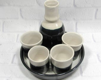 Sake Set - Espresso Cups - Whiskey cups bottle and tray  Barware set