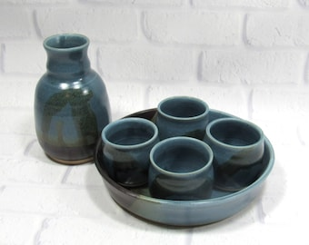 Whiskey or Sake Set - Espresso Cups - Barware set - Handmade Pottery