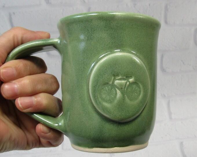 Featured listing image: Coffee or Tea Mug - Mug with Bike - Handmade Pottery