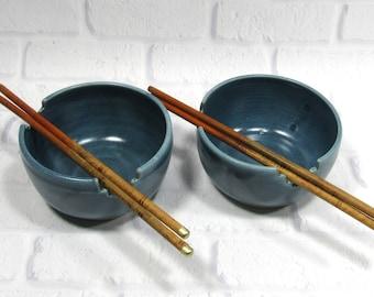 Pottery Bowls - Chopstick Bowls - Rice Bowls - Set of 2 Bowls - Ceramic Noodle Bowls - Ramen Bowls - Soup Bowls - Appetizer Dip Bowls