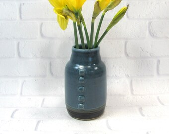 Ceramic Flower Vase - Blue and Brown Vase - Pottery Vase - Sake Jar - Decanter - Mantelpiece Accent Decor - Decorative Vase - Utensil Holder