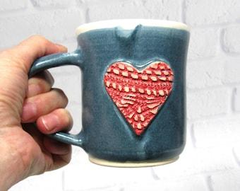 Ceramic Pottery Mug - Valentine Heart Mug - Sweetheart Mug - Ceramic Coffee Cup - Ceramic Mug - Tea Mug - Wedding Favor
