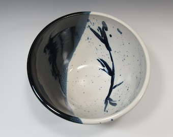 Serving Bowl - Black & White Pottery