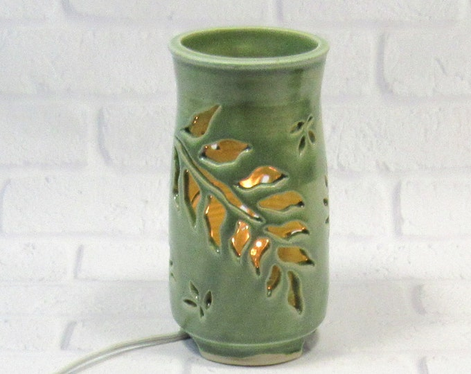 Featured listing image: Mood Lighting - Ambiance Lighting - Ceramic Night Light - Pottery Lamp - Green Table Lamp - Decorative Lamp - Romantic Lighting - Lantern