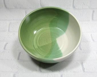 Ceramic Serving Bowl - Green and White Bowl - fruit bowl - salad bowl