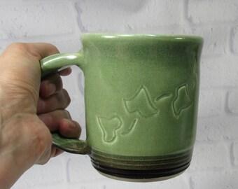 Ceramic Mug - Pottery Mug - Pottery Coffee Mug - Ceramic Coffee Cup - Ceramic Mug - Tea Mug - Green and Black Mug - Large Mug