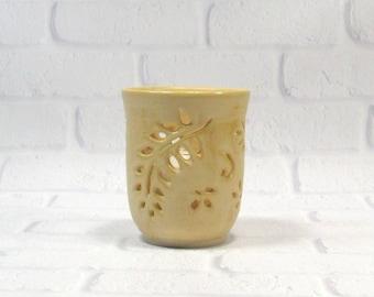 Tealight Pillar Candle Holder - Pencil Holder - Handmade Pottery