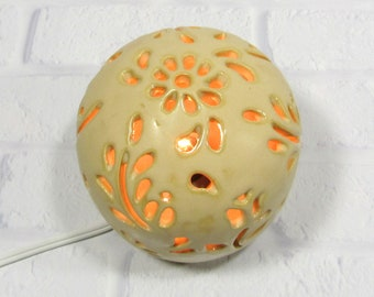 Yellow Night Light - mood lighting - ambiance light - round table lamp - ceramic night lamp - nursery night light - night light kids