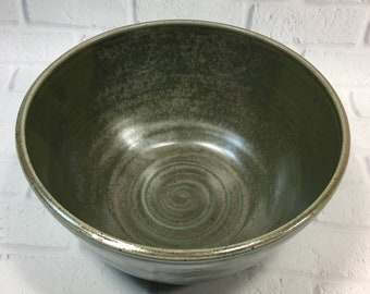 Large Serving Bowl - Pottery Salad Bowl - Centerpiece - Fruit Bowl - Dark Green Bowl - Popcorn Bowl