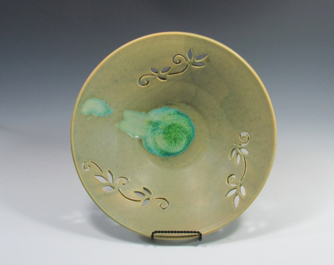 Featured listing image: Decorative platter - wall decor - wall hanging platter - Decorative Ceramic Bowl - Ikebana - Centerpiece - accent piece - Tabletop decor