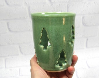 Tealight Votive Candle Holder - Pencil Holder - Handmade Pottery - Holiday Decor