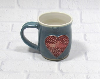 Ceramic Mug - Pottery Mug - Gift for Mom - Sweetheart Mug - Hearts Mug - Ceramic Coffee Cup - Ceramic Mug - Tea Mug - Wedding Favor