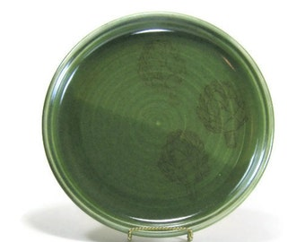 Ceramic Plate - Serving Dish - Fruit Plate - Cheese Plate - Cookie Plate - Artichoke Green Plate - Pottery Dish - Serving Tray - Dining