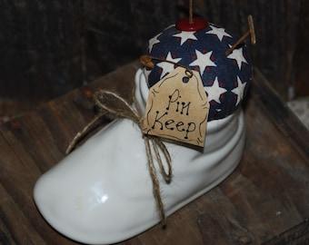 Americana OOAK Pin Keep Red, White and Blue Pinkeep Patriotic Pincushion