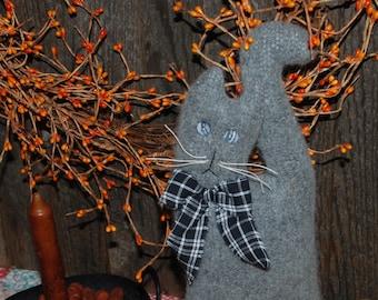 Oliver the Gray Fuzzy Cat Pillow Tuck   Fall Bowl Filler   Farmhouse Autumn Shelf Sitter