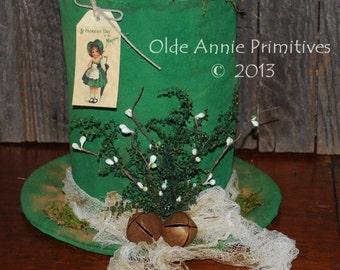 Primitive Pattern EPATTERN Folk Art Primitive St. Patrick's Leprechaun Hat Table Sitter Centerpiece