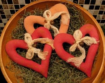 Primitive Pattern EPATTERN Folk Art Primitive Open Hearts Pillow Tuck Ornies Bowl Filler