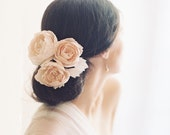 Bridal blush English rose hair pins, silk flowers, wedding hair accessory - Style no. 2007