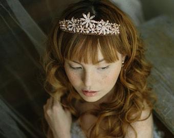 Wedding tiara, bridal crown, rose gold crown - Bitterroot no. 2183
