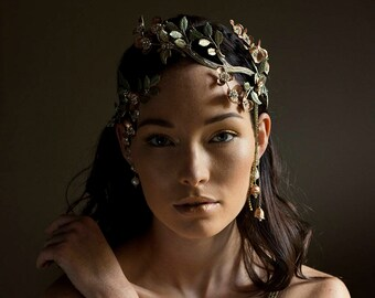 Woodland wedding crown, bridal hair vine - Harmonia No. 2257