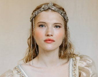 Medieval Fantasy Draped Chain Wedding Headdress No. 2370