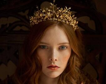 Golden wedding crown, bridal tiara, wedding headpiece - Viola no. 2216